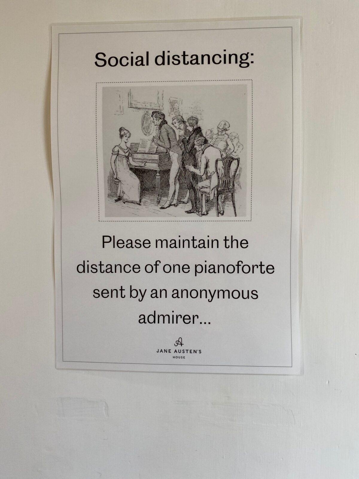 An Austen themed social distancing poster