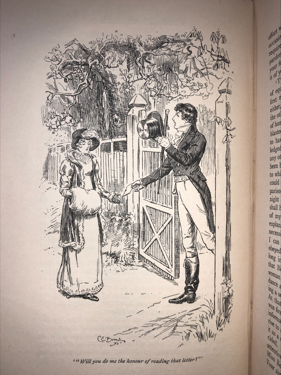 Illustration of Darcy meeting Elizabeth, by Charles E. Brock