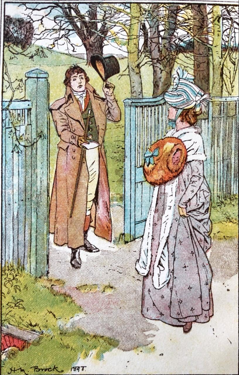 Illustration of Darcy meeting Elizabeth, by Henry M. Brock