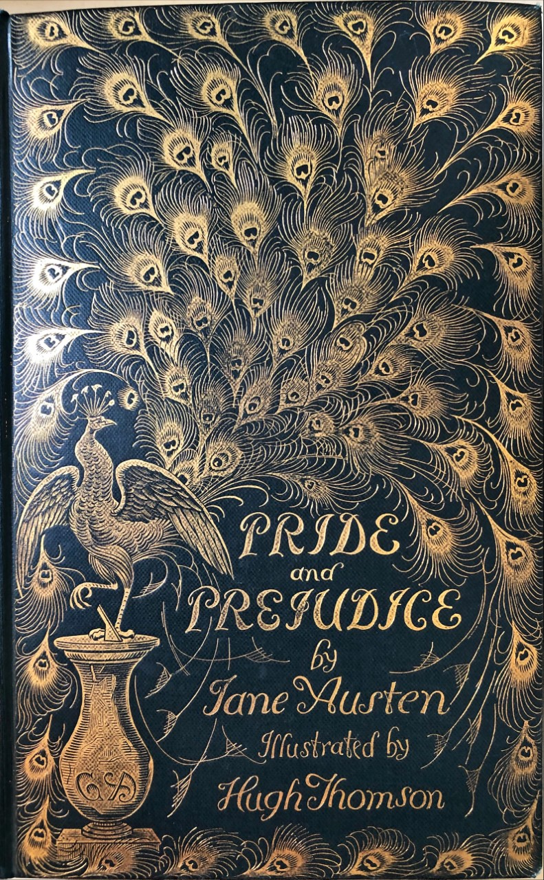 Front cover of Pride & Prejudice 'Peacock' edition, illustrated by Hugh Thomson 1894