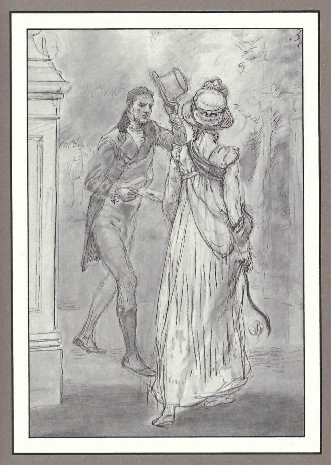 Illustration of Darcy meeting Elizabeth, by Isabel Bishop